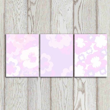 Pink gray flower wall art print Girls bedroom decor ideas Set of 3 Printable girls poster print Nursery wall art Baby girl INSTANT DOWNLOAD