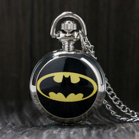 Vintage Steampunk Black Batman Pocket Watch Necklace Pendant Gift Batman