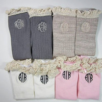 Monogrammed Boot Socks with Lacy Top!