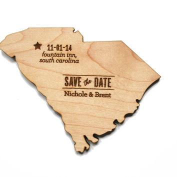 State Save the Date Wood Magnets