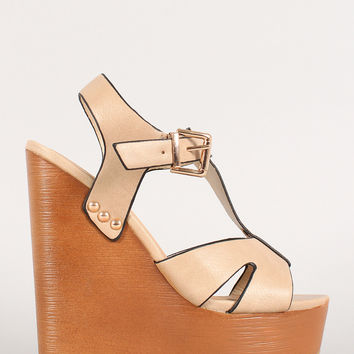 Soda Open Toe T-Strap Faux Wooden Platform Wedge