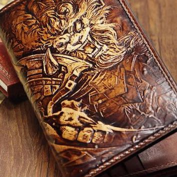 Handmade League of Legends LOL Rengar carved leather custom long wallet for men gamers