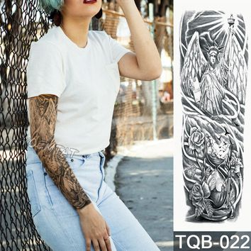 New 1 Piece Temporary Tattoo Sticker Hourglass goddess pattern Full Flower Tattoo with Arm Body Art Big Large Fake Tattoo