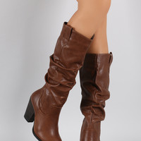 Round Toe Slouchy Chunky Heeled Knee High Boots