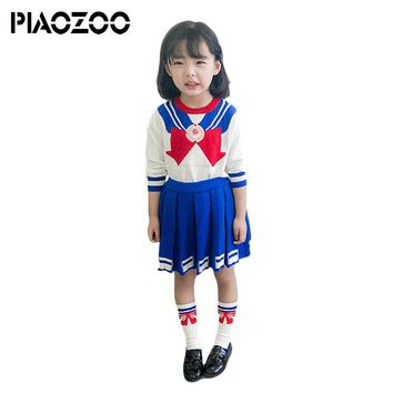 Back to school outfit girls boutique sets Soldier Costume sailor moon sweater Tops+Pleated Skirt winter children dress Socks P20
