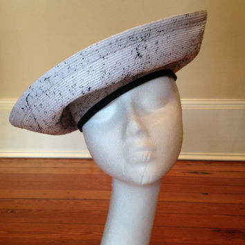 Retro Black and White Hat,  Funky 1980s Hat, Fancy Headpiece
