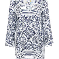 DailyLook: Blue Life Vintage Scarf Print St Tropez Tunic in WHITE / NAVY XS - L