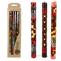 Tall Hand Painted Candles - Three in Box - Uzimai Design
