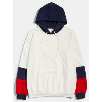 Men Color Block Hoodie
