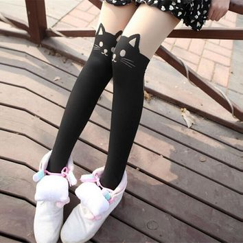 Hot sale! Fashion Gifts Fashion New Women Silk Stockings Pantyhose Ribbed Over Cute Cat Rabbit Sexy Slim Tights
