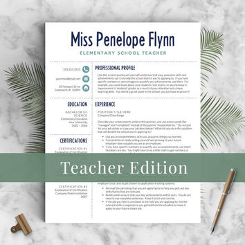 Creative Teacher Resume Template for Word & Pages, 1 - 3 Pages, Icons, Cover Letter, Meet the Teacher Letter | Instant Download