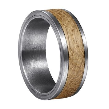 Whiskey Barrel White Oak + Silver Tungsten - Men's Wood Wedding Band