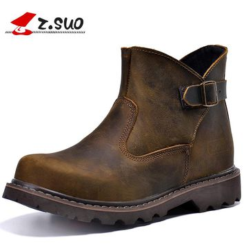 Z. Suo Brand 327 Style Men's Autumn Vintage Buckle Design Genuine Leather Work Boots Male Crazy Horse Leather Tooling Boots