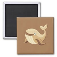 Beige Brown Happy Whale Square Magnet