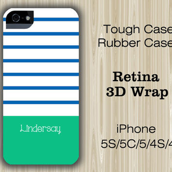 Navy  Green Stripes Monogram iPhone 6/5S/5C/5/4S/4 Case
