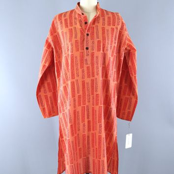 Vintage 1980s FAB INDIA Orange Block Print Cotton Tunic Dress