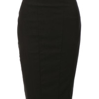 Womens High Waisted Pencil Midi Skirt with Stretch
