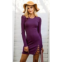 Lucky One Long Sleeve Rib Knit Lace Up Scoop Neck Mini Sweater Dress - 4 Colors Available