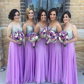 2016 New Fashion Spaghetti Straps Purple Chiffon Floor-Length Bridesmaid Dress With Crystal Long Party Dresses For Juniors2016