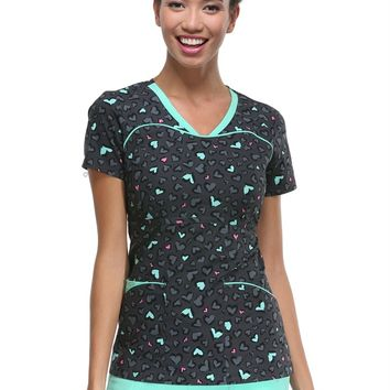 HeartSoul Tame My Wild Heart print scrub top.