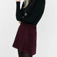 Burgundy A-line Laser Cut Mini Skirt from EXPRESS