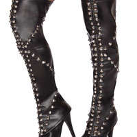 Spike Studded Leggings - As Shown