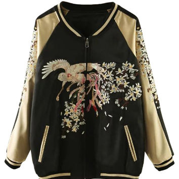 Color Block Embroidery Pattern Bomber Jacket