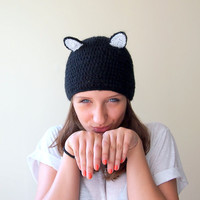 Cat hat - cat ears black and white kitty costume halloween beanie cap mohair catwoman