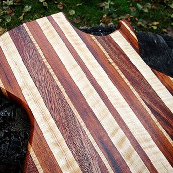 Handmade Wood Rockin Guitar Cutting Board - Brazilian Goncalo & Massachusetts Black Walnut