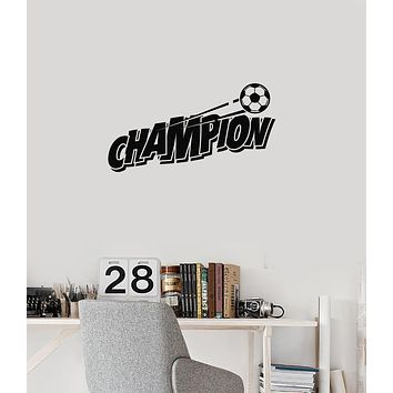Vinyl Wall Decal Soccer Champion Player Ball Child Son Teen Room Sports Stickers Mural (ig6022)