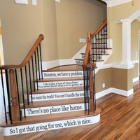 Classic Movie Quotes for Stairs, Windows or Wall Vinyl Decal Assorted Quotes Large Set