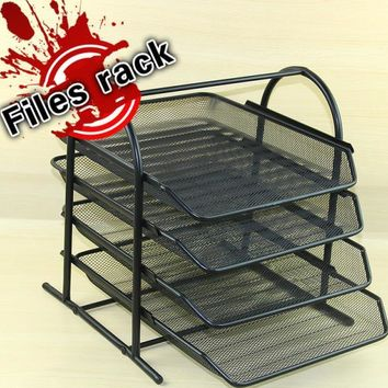 Multi-layer sort out frame metal iron mesh 4 layer A4 desktop files rack document trays storage frame office supplies