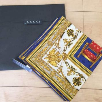 GUCCI Scarf Scarves Stole Silk 100% Classic Chair Pattern Women Luxury Auth Rare