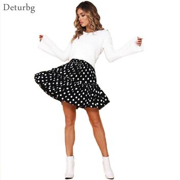 Deturbg Women polka dot print Mini Skirt Ladies Harajuku High Waist Lace-up Ruffle Pleated Skirts Saias faldas 2018 Autumn SK238