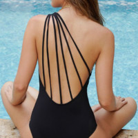 Fashion pure black one shoulder polyline one piece bikini show thin