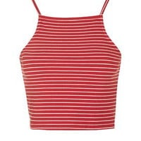 PETITE Striped Crop Top - Red