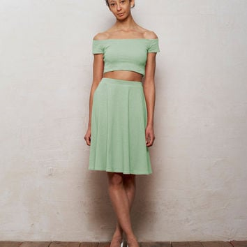 Mix n Match Coco Crop Top and Skater Skirt Set in Pastel Mint Green