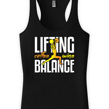 Funny Lifting Tank Lifting Wine Coffee Balance American Apparel Racerback Lifting Tank Top Coffee Gifts Fitness Humor Wine Lover WT-118