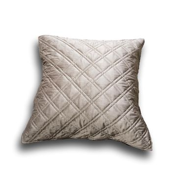 "DaDa Bedding Taupe Grey Velvet Quilted Euro Pillow Sham Cover, 26"" x 26"" (JHW831)"