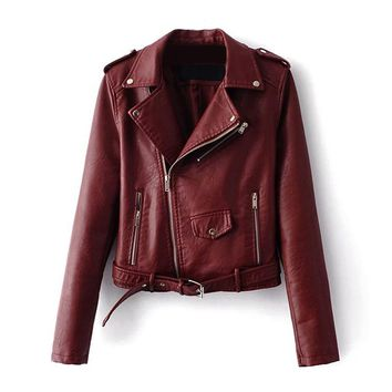 2017 Autumn Women Basic Coats Fashion PU Faux Leather Bomber Jacket Coat Zipper Belt Long Sleeves Basic Moto Jacket Outerwear