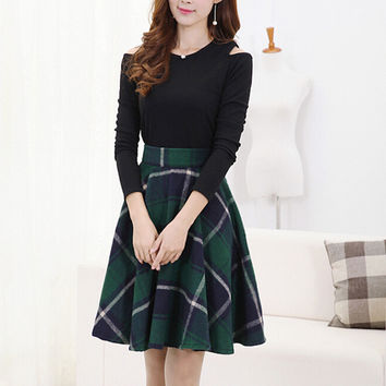 Skirts Womens 2015 Autumn Winter Woolen Skirt Casual Slim A-line Plaid Midi Skirts Female Fashionable High Waist Saias Femininas