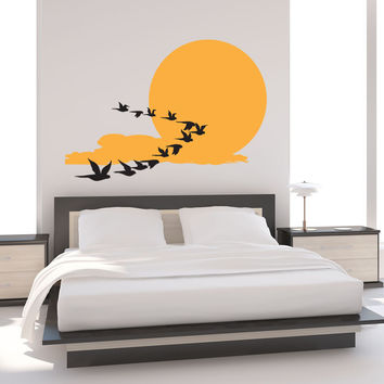 Vinyl Wall Decal Sticker Birds Across the Sun #1195