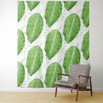 Swirly Green Leaf Whimsical Botanical Pattern Tapestry