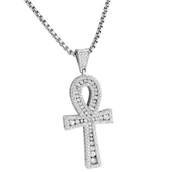 Sterling Silver Ankh Cross Pendant Solitaire Lab Diamonds 24 Inch Box Necklace Charm