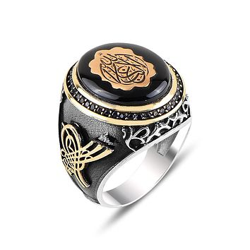 Mens amber gemstone ring 925 sterling silver with calligraphy