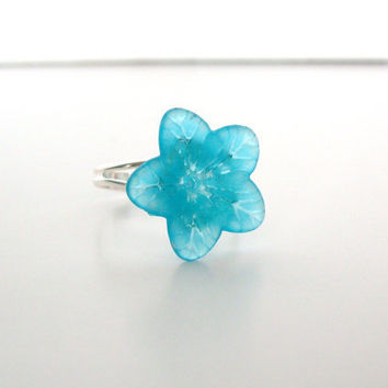 Blue Flower Ring by StrictlyCute on Etsy