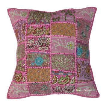 """17x17"""" Lovely Pink Indian Embroidered Pillow Patchwork Throw Pillow Toss Pillow Cushion Cover Home Ethnic Vintage Decorative Cotton Pillow"""