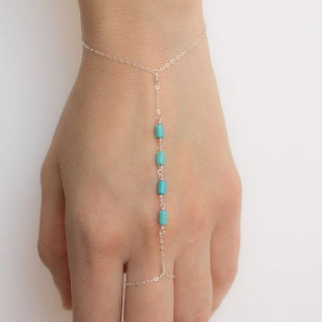 Sterling Silver Turquoise Hand Chain Slave Bracelet