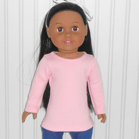 18 inch Girl Doll Clothes Pink Tee Shirt Long Sleeve Knit Shirt American Doll Clothes