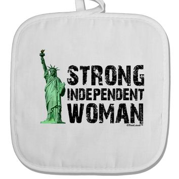 Statue of Liberty Strong Woman White Fabric Pot Holder Hot Pad by TooLoud